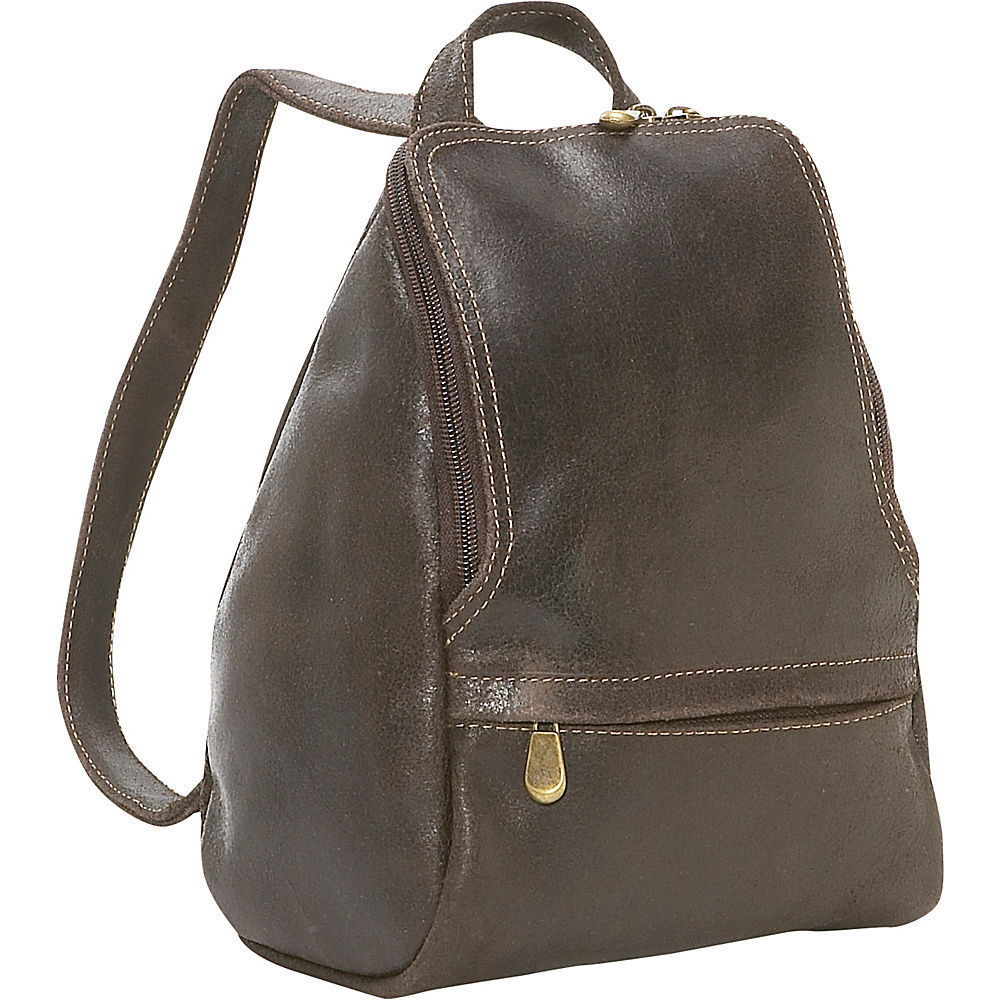 Ledonne Leather Distressed Leather Mini Backpack with U-Z...