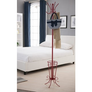 K&B Red Coat Rack with Umbrella Stand