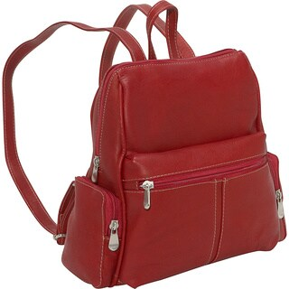 LeDonne Women's Leather Four Pocket Backpack with Cross Stitching and Antique Hardware