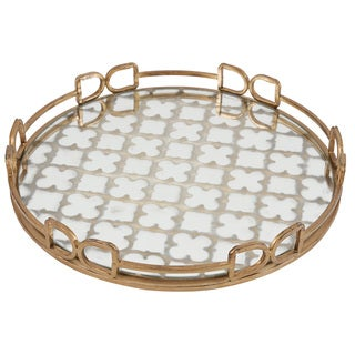 Metal and Glass 16-inch Tray