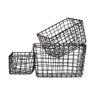 Metal Rectangular Nesting Wire Basket with 2 Handles Set of Three Coated Finish Black