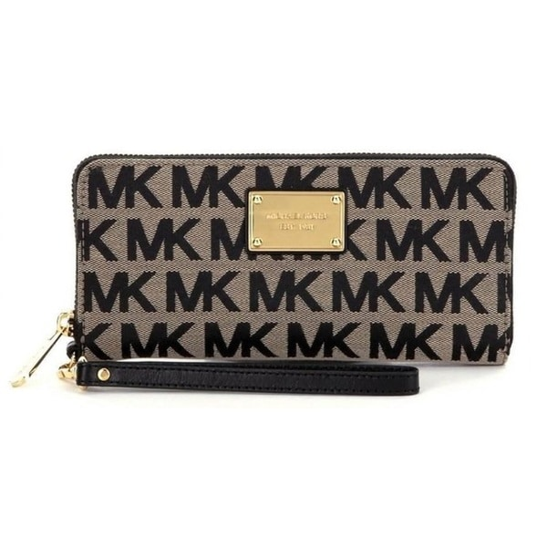 7e1c2b42d244 Shop Michael Kors Jet Set Travel Beige Black Continental Wallet ...
