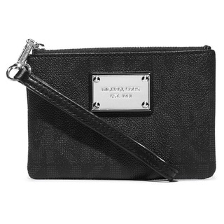 Michael Kors Signature Jet Set Black MK Logo Small Wristlet