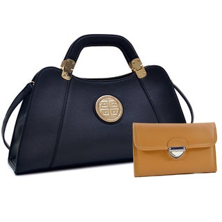 Dasein Emblem Metal Hinge Handle Bag with Removable Shoulder Strap & Buckle Wallet