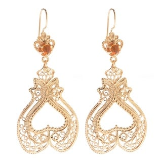 Gold Overlay Tanzanite Cabochon Filigree Heart-shaped Earrings