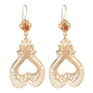 Gold Plate Tanzanite and Fire Opal Filigree Heart-Shaped Earrings