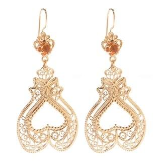 Gold Overlay Tanzanite Cabochon Filigree Heart-shaped Earrings (Option: Tanzanite)