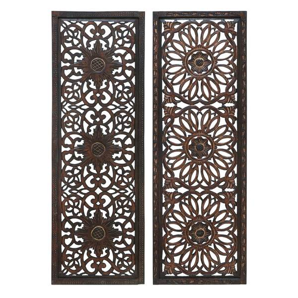 Elegant Wall Sculpture - Wood Wall Panel 2 Assorted 48 inches High x 16 inches Wide