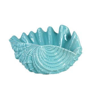 Beautiful & Skillfully Sculpted Ceramic Seashell In Blue
