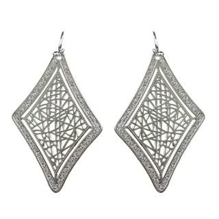 Silver Diamond Cut out Earrings