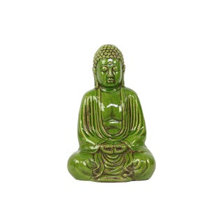 Sophisticated Sitting Buddha Statue In Glorious Green