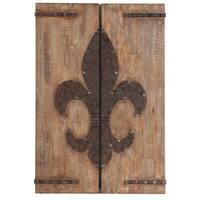 Emblem Wood Panels with Fleur de Lis Design (Set of 2)