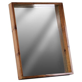 Wood Rectangular Wall Mirror with Protruding Frame SM Varnished Wood Finish Brown
