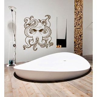 Angry octopus Wall Art Sticker Decal Brown