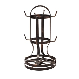 Gourmet Basics Antique Black Finish Forged Rotating Mug Tree