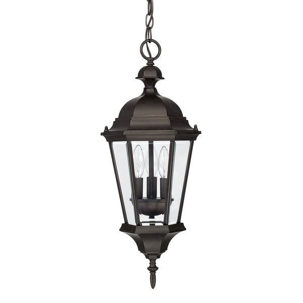 Capital lighting carriage house collection 3 light old bronze outdoor hanging lantern free for Carriage house exterior lights