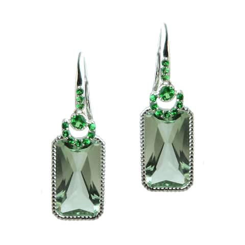 Michael Valitutti Green Amethyst with Chrome Diopside and Tsavorite Earrings