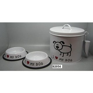 Elegance Dog Food Container w/water and food bowl