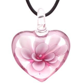 Bleek2Sheek Murano-Inspired Glass Blooming Flower Heart Hypoallergenic Pendant Necklace
