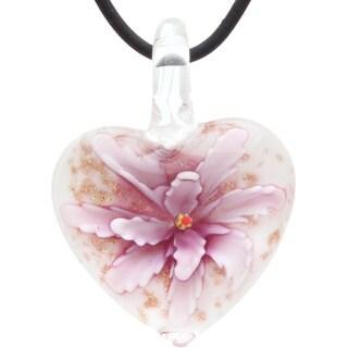 Bleek2Sheek Murano-Inspired Confetti Glass Blooming Flower Heart Hypoallergenic Pendant Necklace