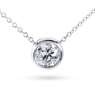 Annello by Kobelli 14k Gold 1ct Forever Classic Moissanite Round Bezel Solitaire Necklace