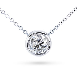 Annello by Kobelli 14k Gold 1ct Moissanite Round Bezel Solitaire Necklace