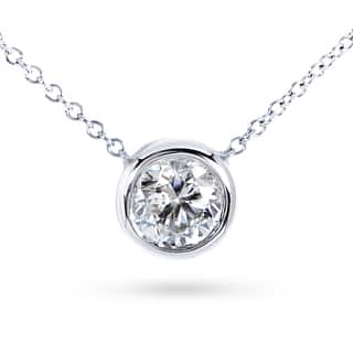 Annello by Kobelli 14k Gold 1ct Moissanite (HI) Round Bezel Solitaire Necklace|https://ak1.ostkcdn.com/images/products/11746160/P18662637.jpg?impolicy=medium