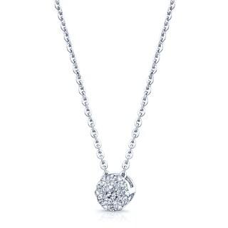 14k White Gold 1/3ct TDW Diamond Solitaire Pendant (H-I, SI1-SI2)