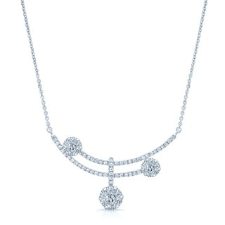 14k White Gold 7/8ct TDW Diamond Cluster Necklace (G-H, SI-VS)