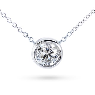 Annello by Kobelli 14k Gold 4/5ct Forever Classic Moissanite Round Bezel Solitaire Necklace