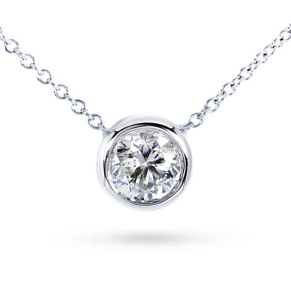 Annello by Kobelli 14k Gold 4/5ct Forever Classic Moissanite (HI) Round Bezel Solitaire Necklace