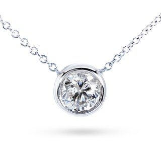 Annello by Kobelli 14k Gold 4/5ct Forever Classic Moissanite (HI) Round Bezel Solitaire Necklace (2 options available)