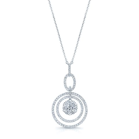 14k White Gold 1 1/4ct TDW Diamond Cluster Circle Necklace