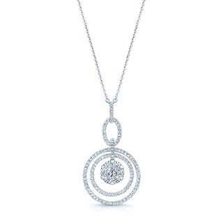 14k White Gold 1 1/4ct TDW Diamond Cluster Circle Necklace (G-H, VS-SI)