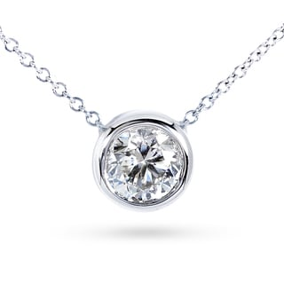 Annello by Kobelli 14k Gold 1 1/2ct Forever Classic Moissanite Round Bezel Solitaire Necklace