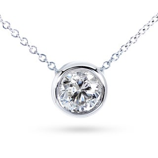Annello by Kobelli 14k Gold 1 1/2ct Forever Classic Moissanite (HI) Round Bezel Solitaire Necklace