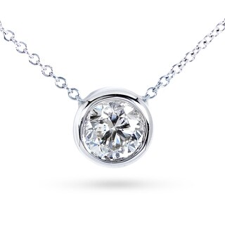 Annello by Kobelli 14k Gold 1 1/2ct Forever Classic Moissanite (HI) Round Bezel Solitaire Necklace (2 options available)
