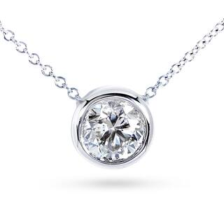 Annello by Kobelli 14k Gold 2ct Forever Classic Moissanite (HI) Round Bezel Solitaire Necklace|https://ak1.ostkcdn.com/images/products/11746182/P18662645.jpg?impolicy=medium