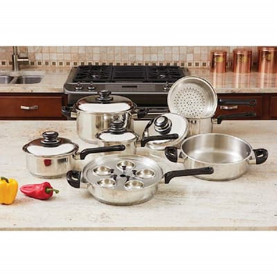 17 Piece Stainless Steel Cookware Set - Stainless Steel