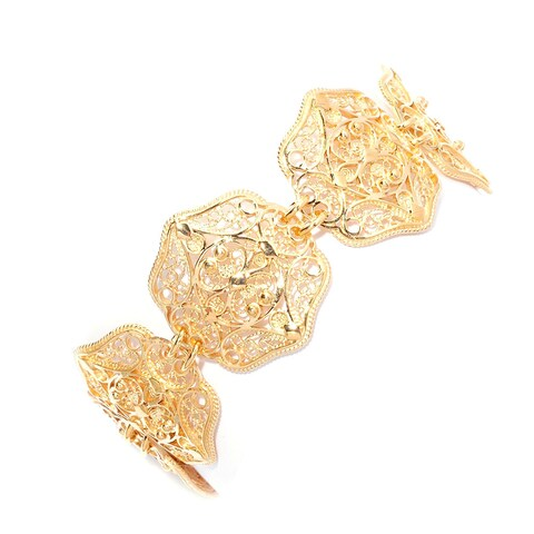 Gold Plated Bronze Filigree Oriental Elements Bracelet