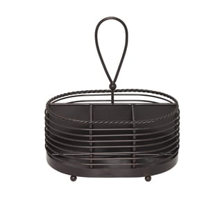 Gourmet Basics Antique Black Finish Rope Napkin Flatware Caddy