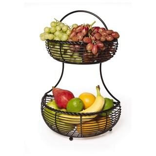 Gourmet Basics Rope 2-Tier Flatback Basket