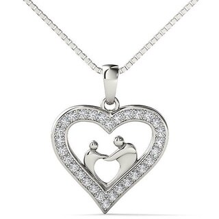 Sterling Silver 1/10ct TDW Diamond Mom and Child Heart Pendant Necklace