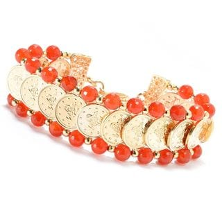 Gold Overlay Faceted Bead Turkish Village Coin Bracelet