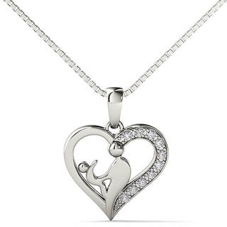 AALILLY Sterling Silver Diamond Accent Mom and Child Heart Pendant Necklace