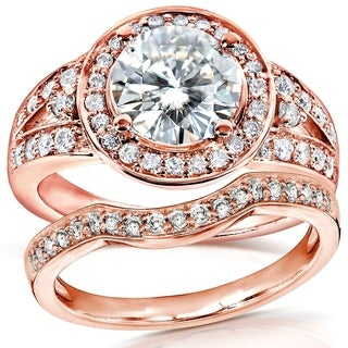 Annello by Kobelli 14k Rose Gold 2ct TCW Round Moissanite and Diamond Halo Bridal Ring 2-Piece Set