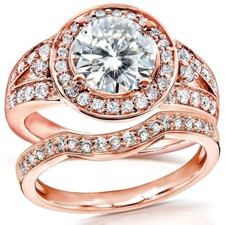 Annello By Kobelli 14k Rose Gold 2ct TGW Round Moissanite And Diamond Halo Bridal Ring 2 Piece Set