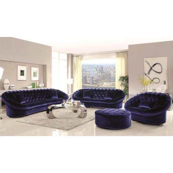 Xnron Cradle Design Royal Blue Velvet Tufted Living Room Collection ...