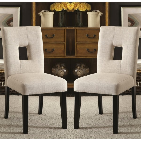 Maldives Open Back Beige Upholstered Parsons Dining Chairs (Set Of 2)