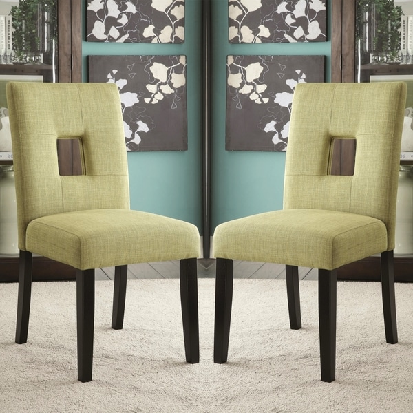Exceptionnel Maldives Open Back Green Upholstered Parsons Dining Chairs (Set Of 2)